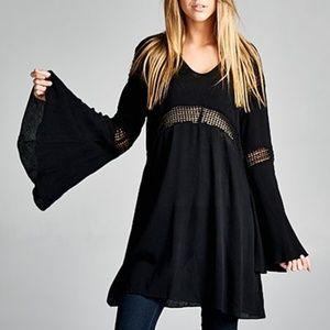 Bell Sleeve Black Tunic Dress Mesh Insets Boho NEW